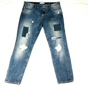 🌹Mango Sz 8 Boyfriend Straight Distressed Jeans
